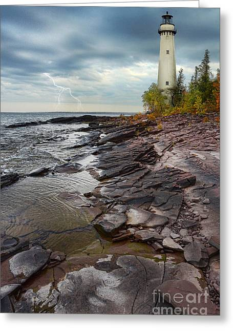 Lightning Strike Greeting Cards - Lighthouse and Stormy Sea Greeting Card by Jill Battaglia