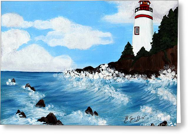 Spiral Staircase Paintings Greeting Cards - Lighthouse and Sunkers Greeting Card by Barbara Griffin