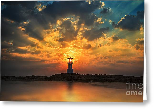 Romanticism Greeting Cards - Lighthouse  Greeting Card by Anek Suwannaphoom