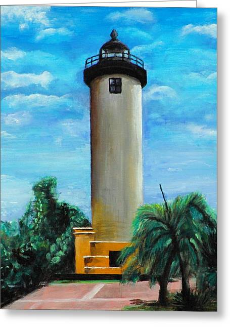 Rincon Paintings Greeting Cards - Lighthouse Greeting Card by Ariel Davila