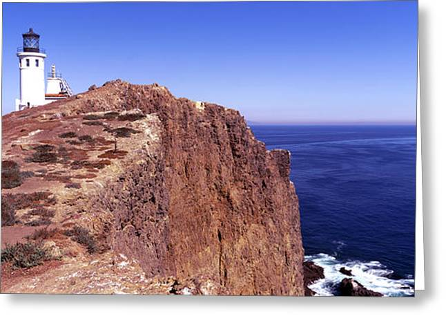 California Ocean Photography Greeting Cards - Lighthouse At A Coast, Anacapa Island Greeting Card by Panoramic Images