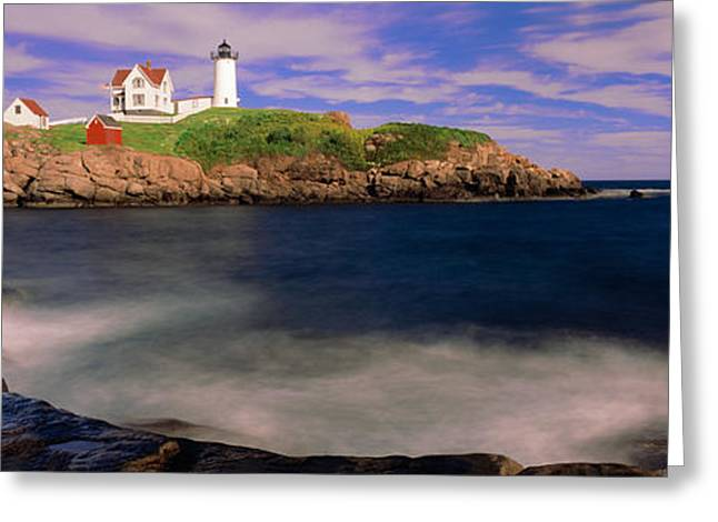 New England Ocean Greeting Cards - Lighthouse At A Coast, Nubble Greeting Card by Panoramic Images