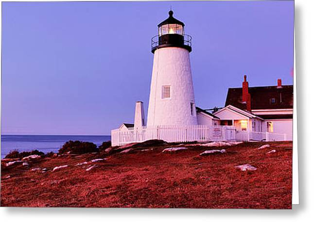 Lighthouse Photography Greeting Cards - Lighthouse At A Coast, Pemaquid Point Greeting Card by Panoramic Images