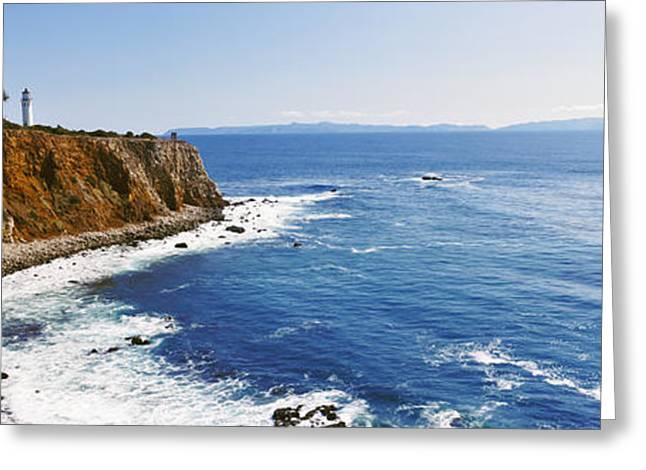 Lighthouse At A Coast, Point Vicente Greeting Card by Panoramic Images