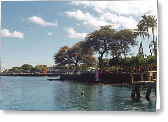 Lahaina Photographs Greeting Cards - Lighthouse At A Pier, Lahaina, Maui Greeting Card by Panoramic Images