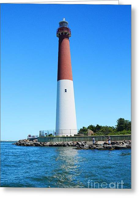 Lighthouse By The Sea Greeting Cards - Lighthouse at Barnegat Bay NJ Greeting Card by Cindy Manero