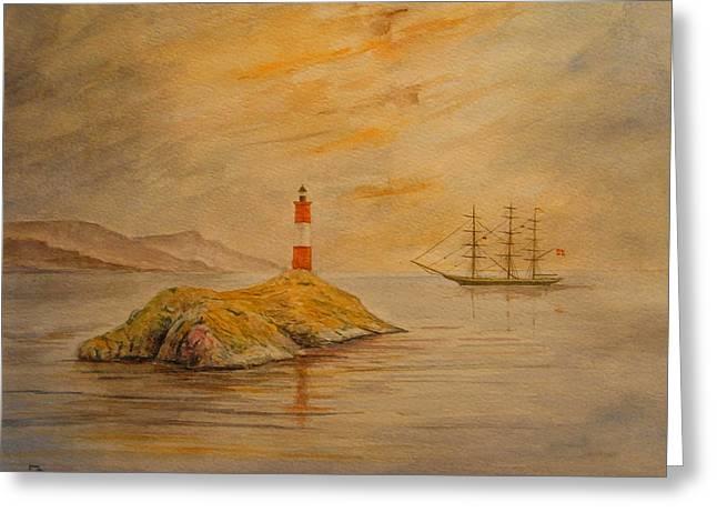 Lighthouse At Cornwall Greeting Card by Juan  Bosco