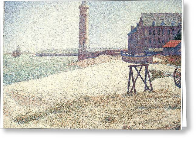 Seurat Greeting Cards - Lighthouse at Honfleur Greeting Card by George Seurat