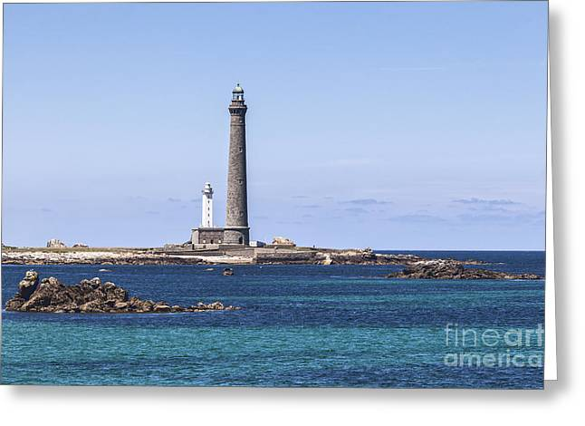 Rock Island Greeting Cards - Lighthouse at Ile Vierge Brittany France Greeting Card by Colin and Linda McKie