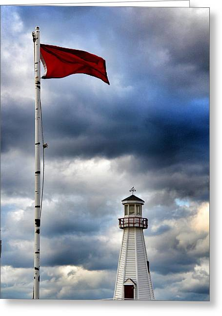 Beach Sand Birds Flying Clouds Sun Sky Trees Grass Building Day Beautiful Wings Flock Greeting Cards - Lighthouse at Lake Michigan Greeting Card by Paul Szakacs