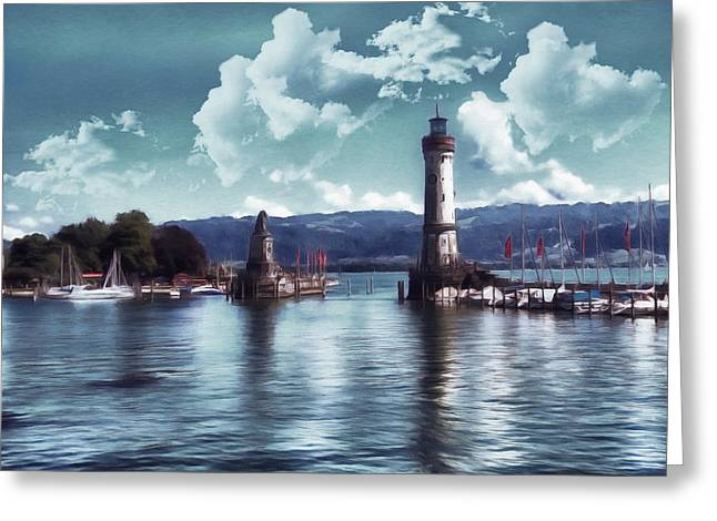 Waterscape Mixed Media Greeting Cards - Lighthouse At Lindau Greeting Card by Georgiana Romanovna