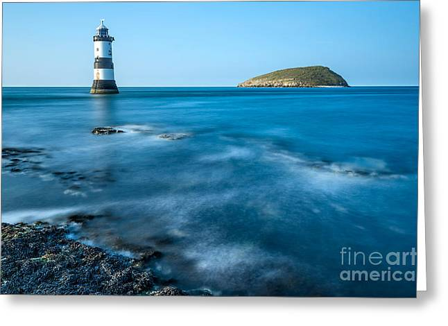 Puffins Greeting Cards - Lighthouse at Penmon Point Greeting Card by Adrian Evans
