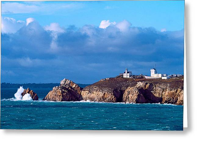 Towering Sea Cliffs Greeting Cards - Lighthouse At Pointe Du Toulinguet Greeting Card by Panoramic Images