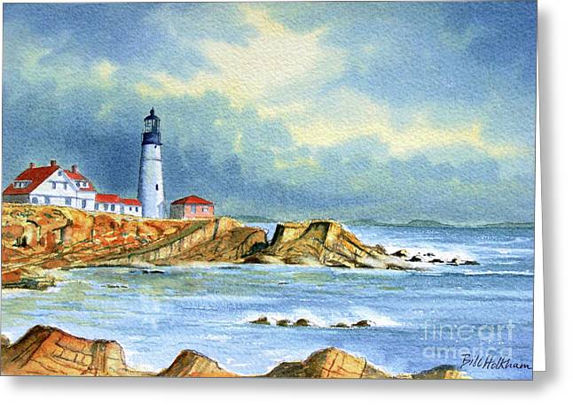 Maine Lighthouses Paintings Greeting Cards - Lighthouse at Portland Head Maine Greeting Card by Bill Holkham