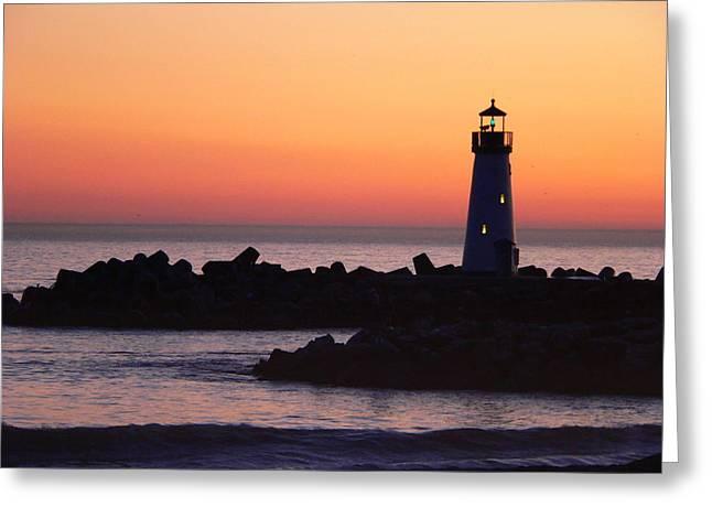The Santa Cruz Harbor Lighthouse Greeting Cards - Lighthouse at Sunset Greeting Card by Jeff Lowe
