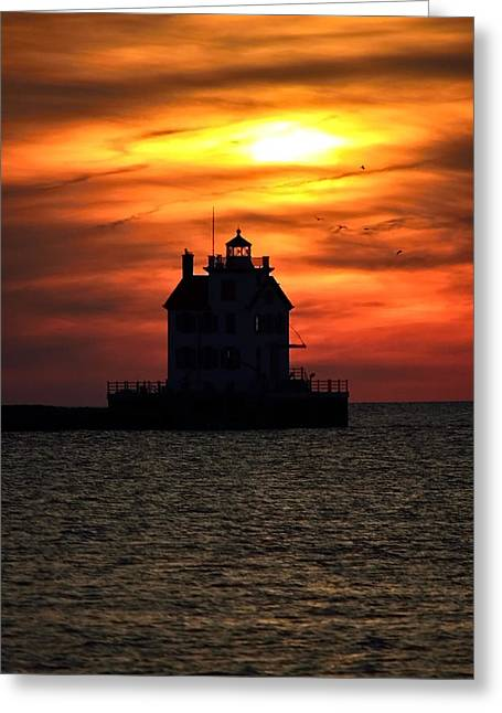 Amazing Sunset Pyrography Greeting Cards - Lorain Lighthouse at Sunset Greeting Card by Keith  Ziegman