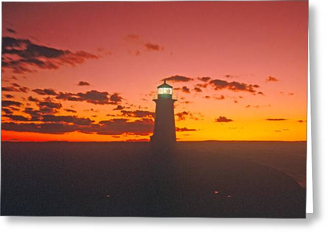 Lighthouse At Sunset, Peggys Cove, Nova Greeting Card by Panoramic Images