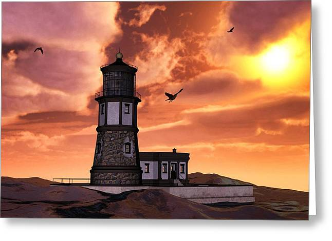 Engulfing Greeting Cards - Lighthouse At Sunset   Greeting Card by Todd and candice Dailey