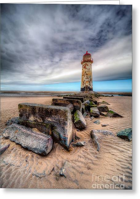 Crooked Greeting Cards - Lighthouse at Talacre  Greeting Card by Adrian Evans
