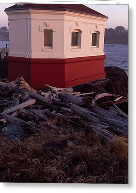 Famous State Parks Greeting Cards - Lighthouse At The Coast, Coquille River Greeting Card by Panoramic Images
