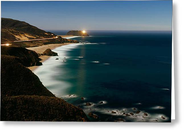 Headlight Greeting Cards - Lighthouse At The Coast, Moonlight Greeting Card by Panoramic Images
