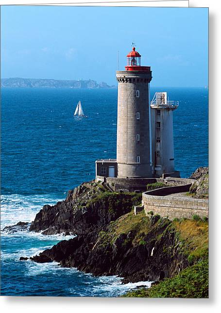 Sailboat Images Greeting Cards - Lighthouse At The Coast, Phare Du Petit Greeting Card by Panoramic Images
