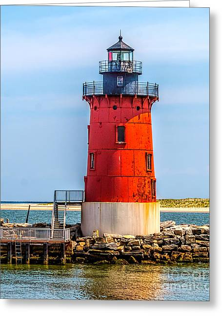 Breakwater Greeting Cards - Lighthouse at the Delaware Breakwater Greeting Card by Nick Zelinsky