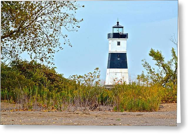 Maine Beach Greeting Cards - Lighthouse at the Dune Greeting Card by Frozen in Time Fine Art Photography
