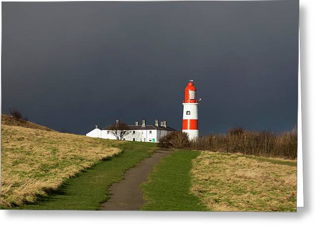 Lighthouse At The End Of A Path Greeting Card by John Short