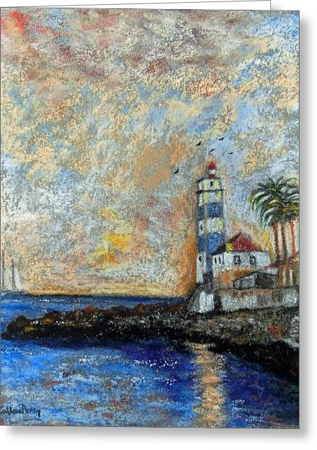 Horizon Pastels Greeting Cards - Lighthouse At The End Of The World Greeting Card by Callan Percy