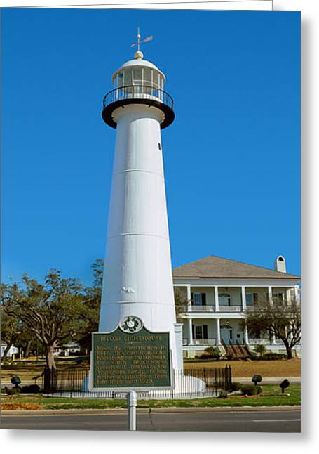 Biloxi Greeting Cards - Lighthouse At The Roadside, Biloxi Greeting Card by Panoramic Images