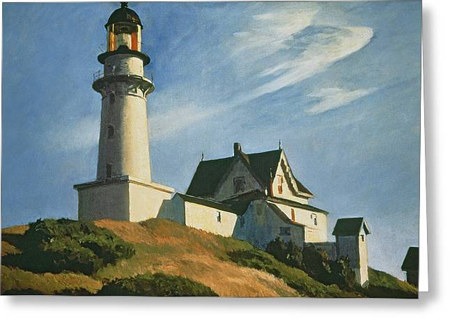 Clouds Posters Greeting Cards - Lighthouse at Two Lights Greeting Card by Edward Hopper