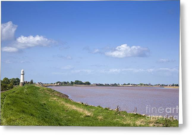 River Flooding Greeting Cards - Lighthouse at Whitgift on the River Ouse East Yorkshire England UK Greeting Card by Jon Boyes