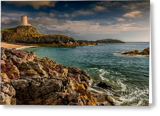 Newborough Greeting Cards - Lighthouse Bay Greeting Card by Adrian Evans