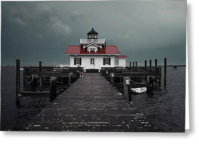Tin Roof Greeting Cards - Lighthouse Greeting Card by Beth Anthony