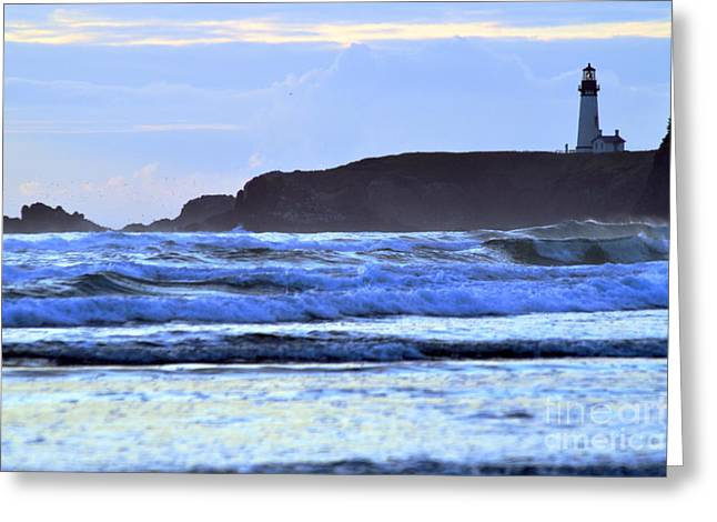 Agate Beach Oregon Greeting Cards - Lighthouse Blues Greeting Card by Sheldon Blackwell