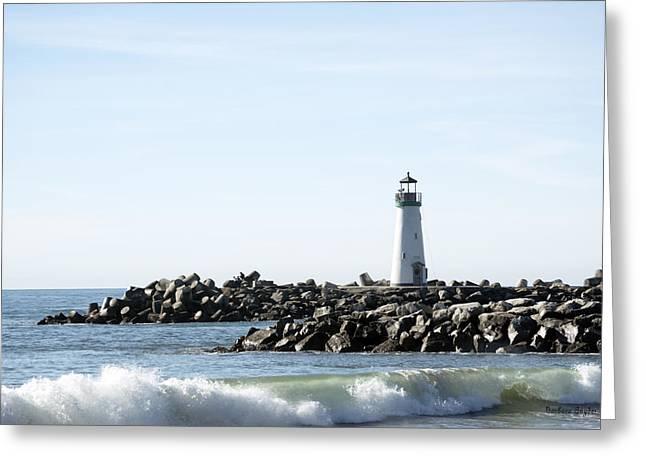 Lighthouse Breaker Santa Cruz California Greeting Card by Barbara Snyder
