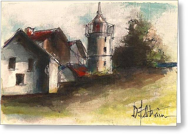 Fineartamerica Drawings Greeting Cards - Lighthouse by Day Greeting Card by Diane Strain