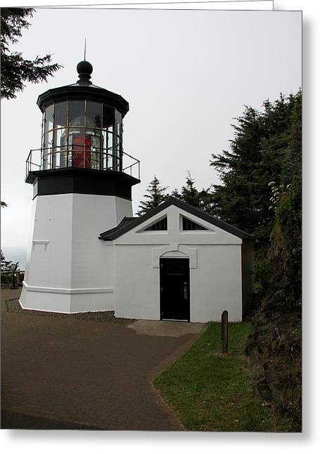 Lighthouse Cape Meares Greeting Card by Christiane Schulze Art And Photography