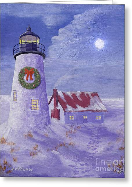 Maine Lighthouses Paintings Greeting Cards - Lighthouse Christmas Greeting Card by Jerry McElroy