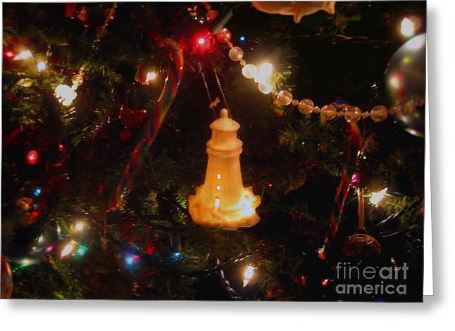 Festivities Greeting Cards - Lighthouse Christmas Greeting Card by Roxy Riou