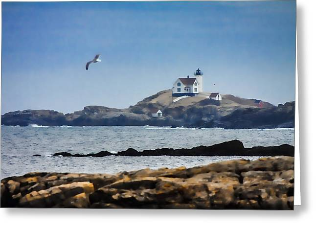 Lighthouse Coastal View Greeting Card by Jeff Folger