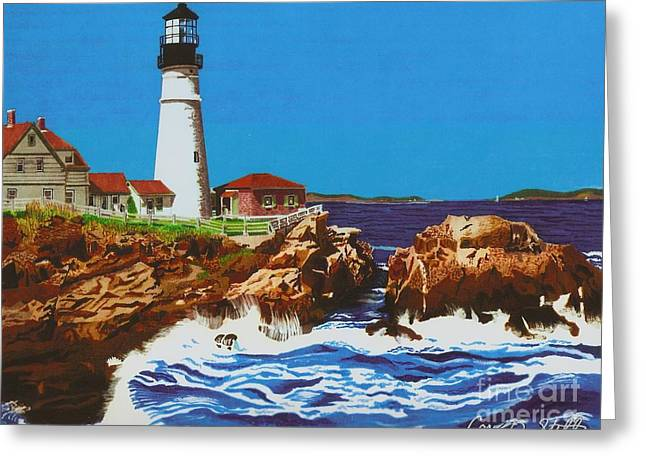 Maine Landscape Drawings Greeting Cards - Lighthouse Greeting Card by Cory Still