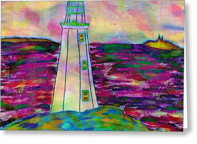 Ocean Images Drawings Greeting Cards - Lighthouse Digital Color Greeting Card by Barbara Griffin