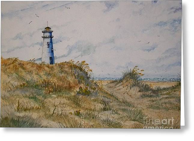 Sea Oats Mixed Media Greeting Cards -  Lighthouse Landscape Greeting Card by Don Hand