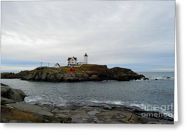 Cape Neddick Lighthouse Greeting Cards - Lighthouse Greeting Card by Eunice Miller