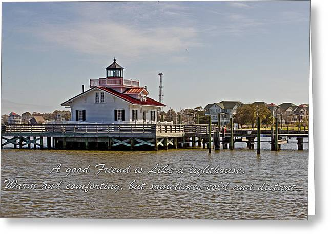 Shallowbag Bay Greeting Cards - Good Friend At The Roanoke Lighthouse  Greeting Card by Tom Gari Gallery-Three-Photography