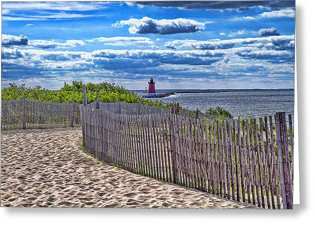 Sand Fences Mixed Media Greeting Cards - Lighthouse from Afar Greeting Card by Trudy Wilkerson