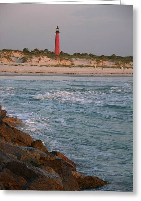 Julianne Felton Greeting Cards - Lighthouse from the jetty 2 Greeting Card by Julianne Felton