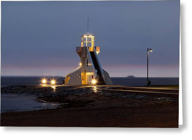 Ocean. Reflection Greeting Cards - Lighthouse Glow Greeting Card by Mountain Dreams